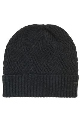 Cable-knit beanie hat , Anthracite