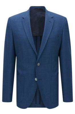 Giacca regular fit in lana vergine strutturata, Blu