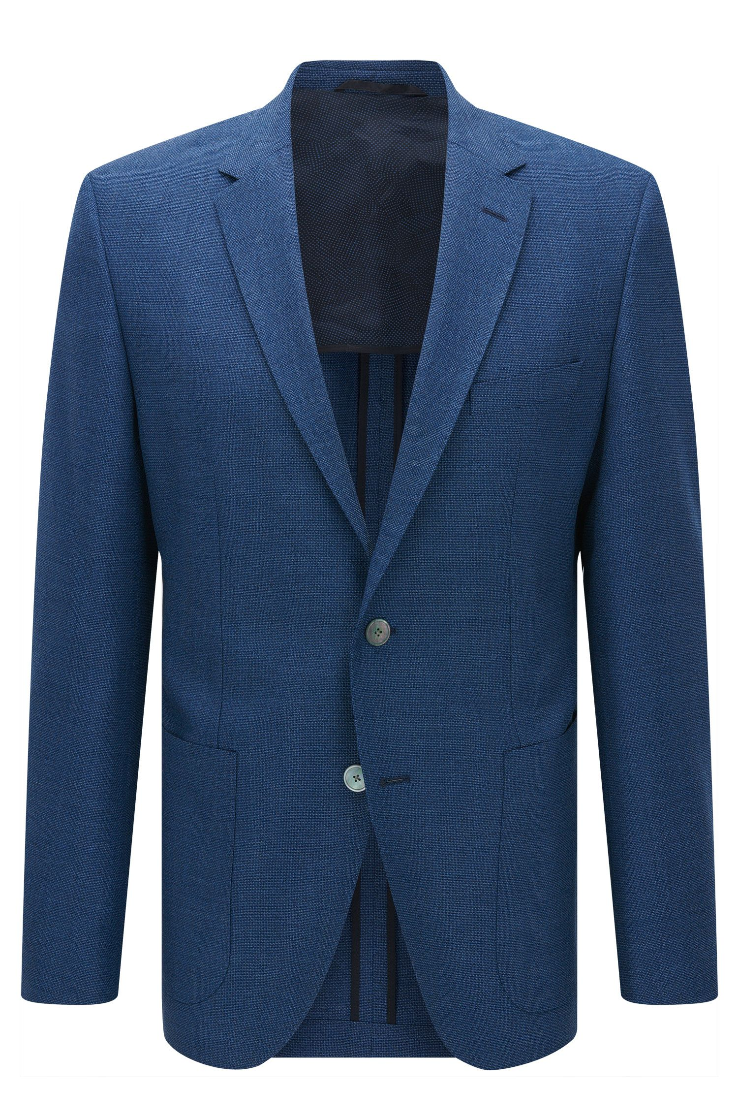 Regular-fit jacket in structured virgin wool