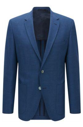 Chaqueta regular fit en lana virgen con textura, Azul