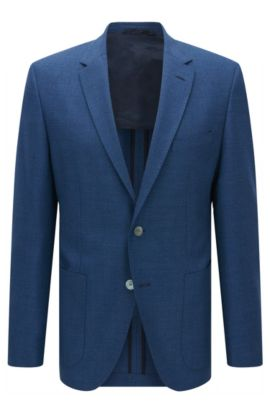 Regular-fit jacket in structured virgin wool, Blue