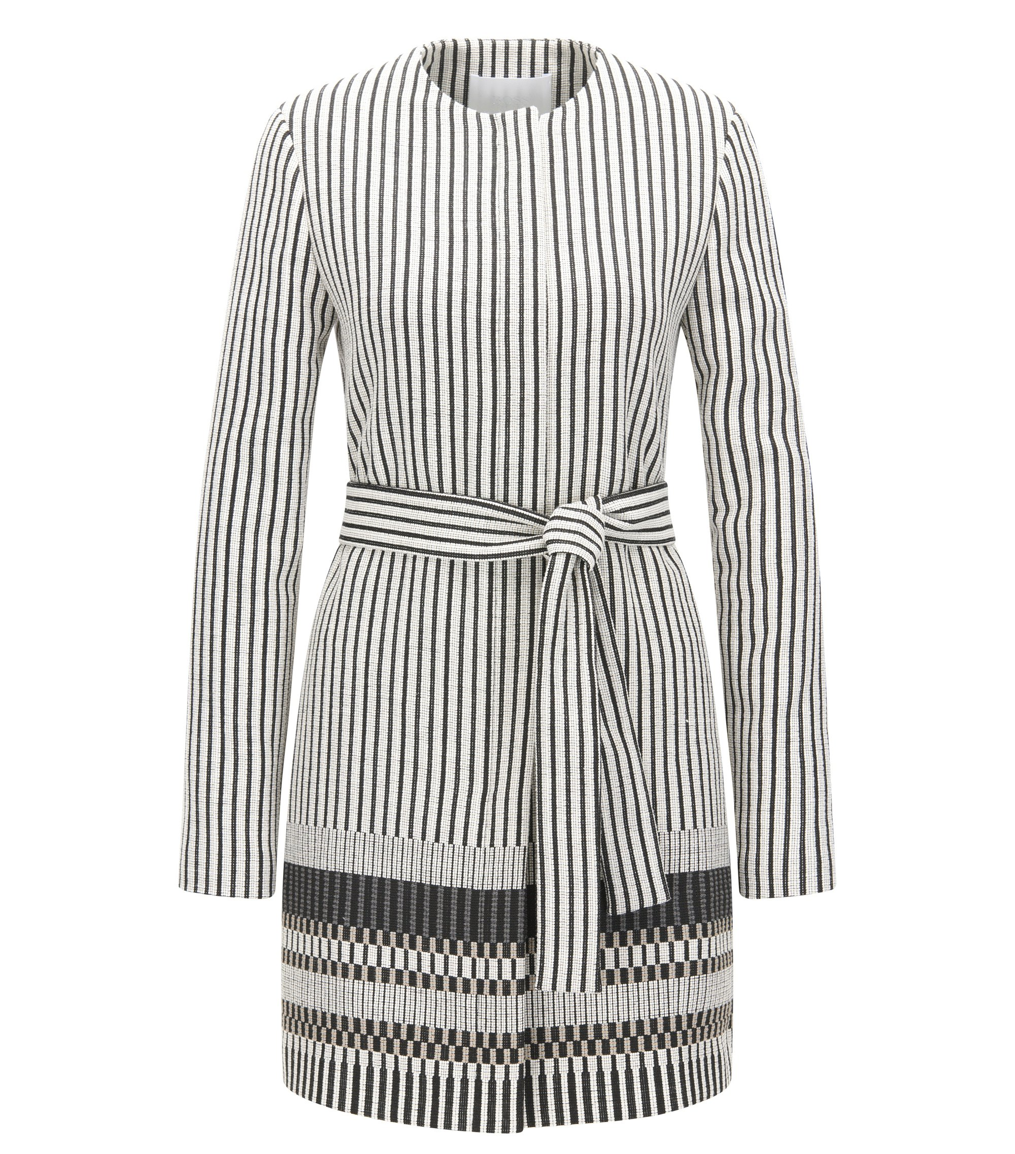 Regular-fit jacquard coat with striped pattern, Patterned