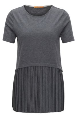 Jersey top with plissé insert, Grey