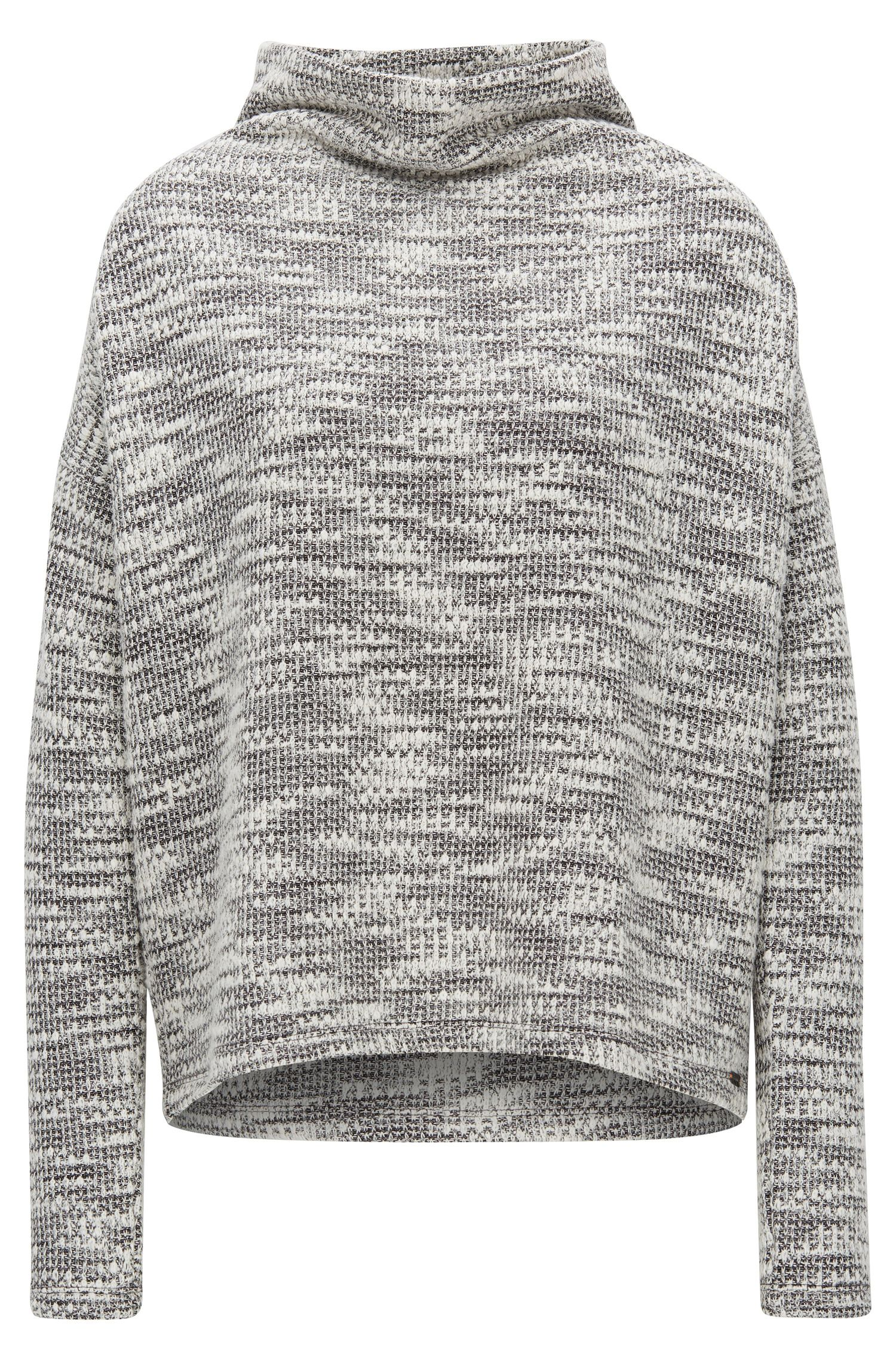 Relaxed-Fit Grobstrick-Pullover aus Material-Mix mit Stehkragen