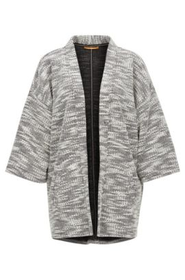 Chunky-knit kimono-sleeved cardigan, Patterned