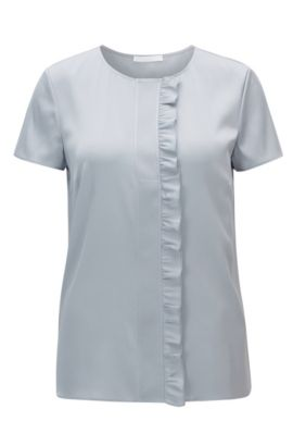 Ruffle-detail short-sleeved top in stretch crêpe de Chine, Light Blue