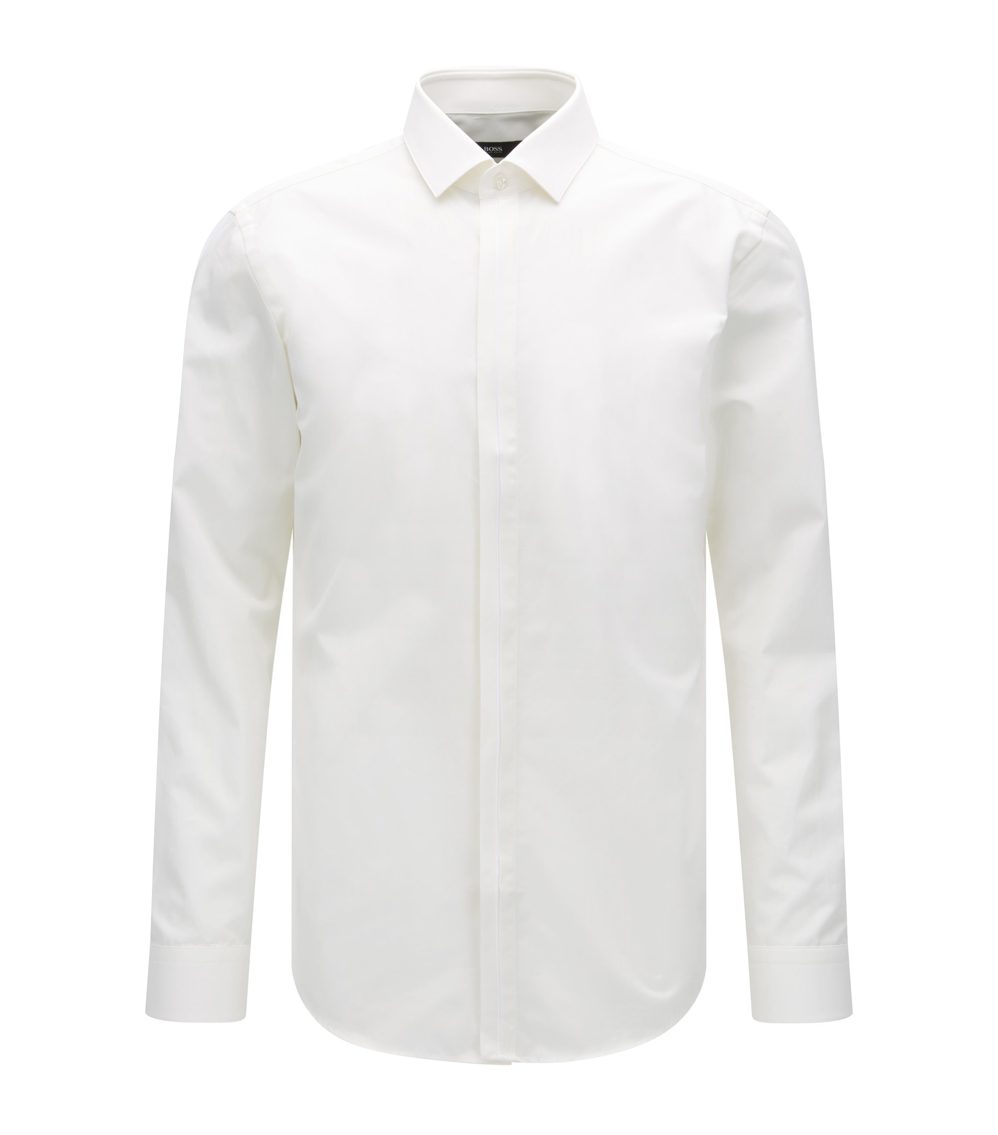 Slim-fit Italian cotton shirt with contrast placket, Natural