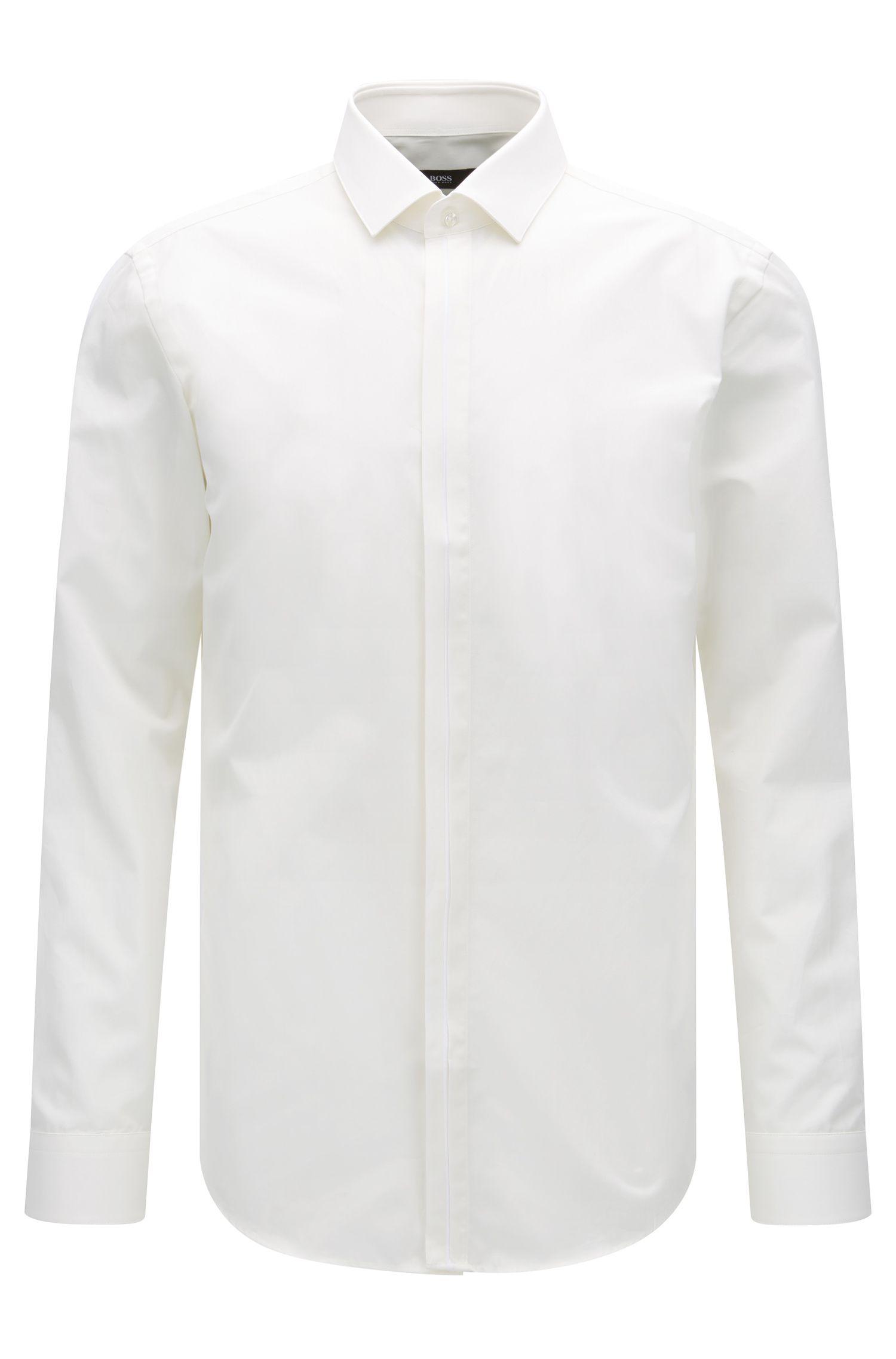 Chemise Slim Fit en coton avec patte de boutonnage contrastante