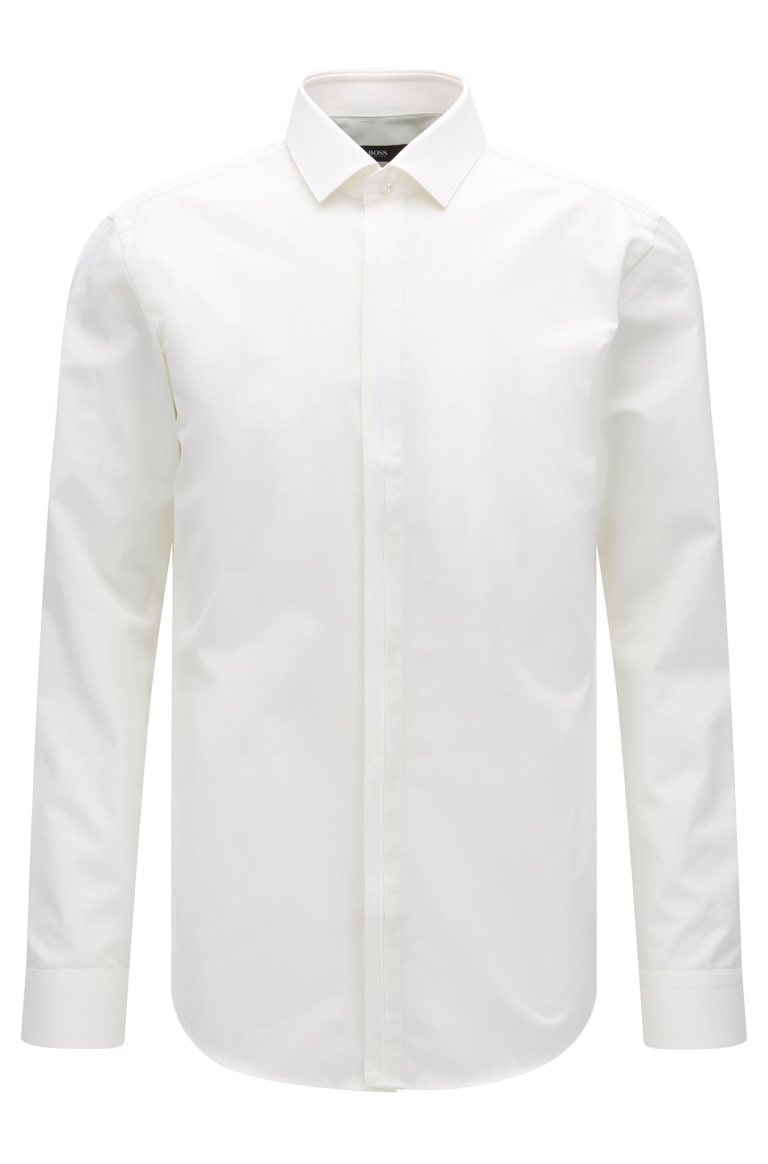 Slim-fit Italian cotton shirt with contrast placket