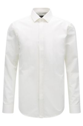 Slim-fit cotton shirt with contrast placket, Natural