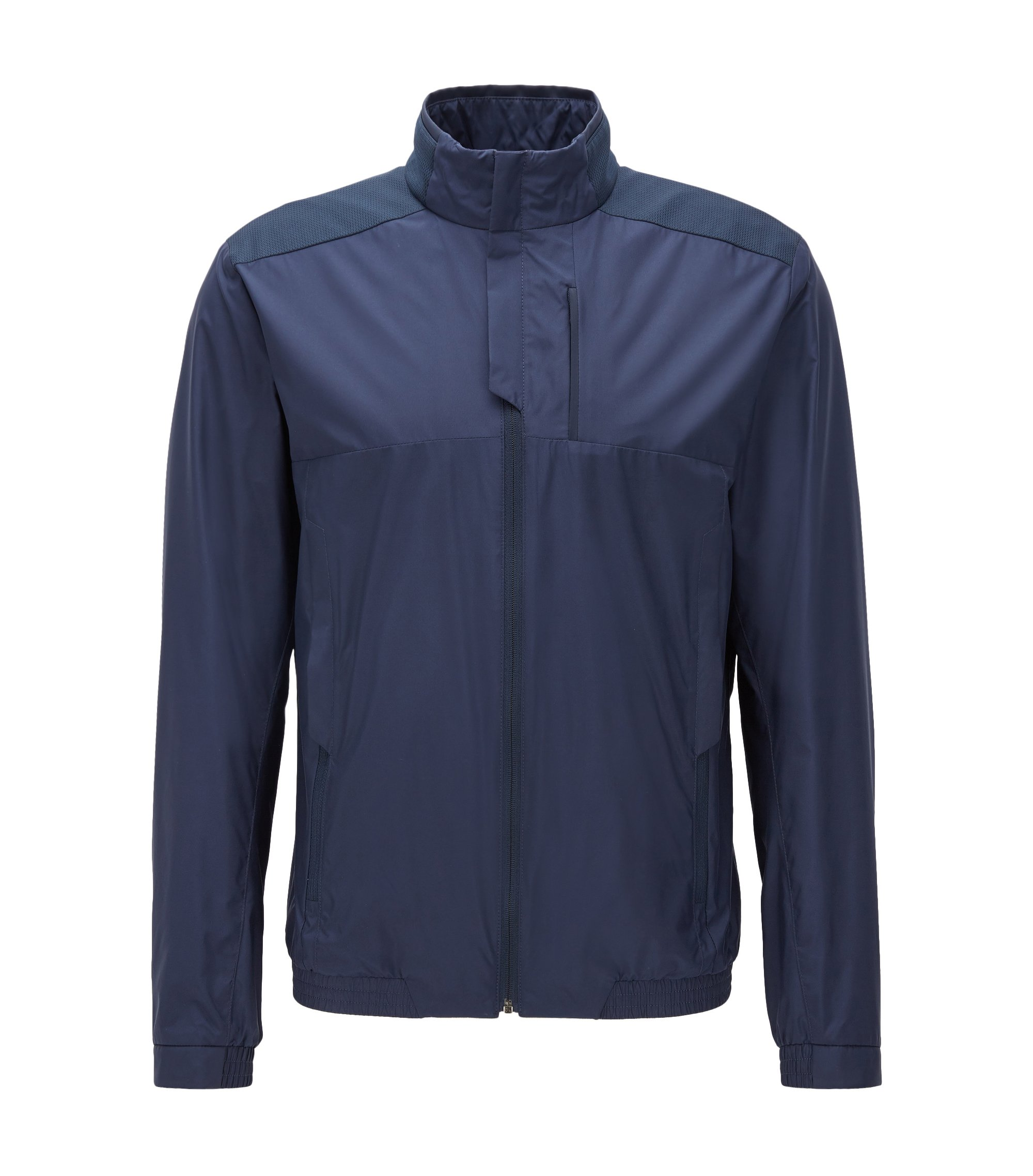 Regular-fit jacket in water-repellent poplin, Dark Blue