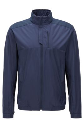Regular-Fit Jacke aus wasserabweisender Popeline, Dunkelblau