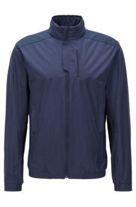 Regular-fit jacket in water-repellent poplin, Dark Blue