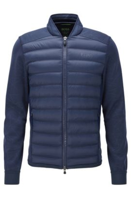 Rounded-collar jacket in technical fabric, Dark Blue