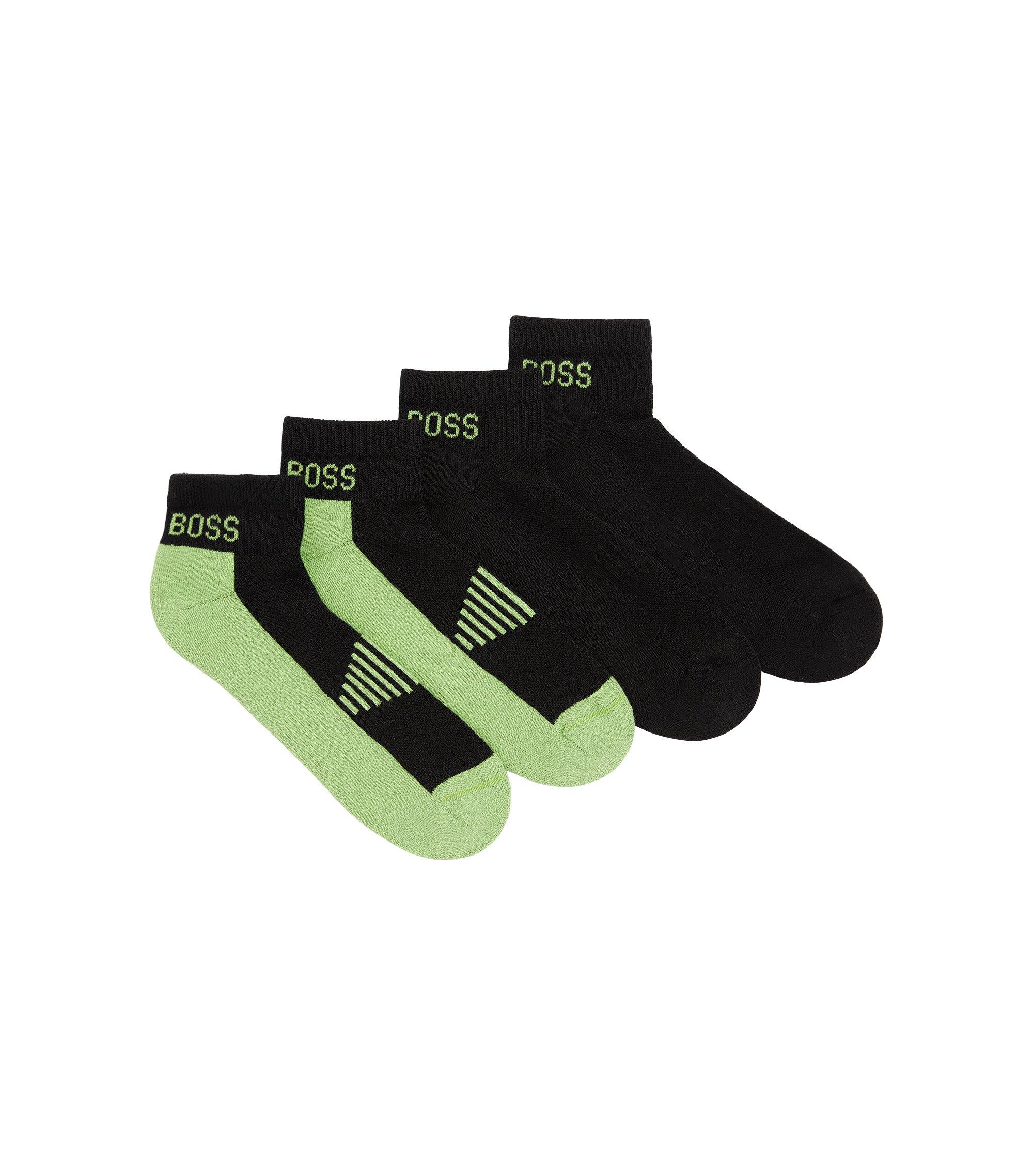 Knöchelhohe Socken aus Baumwoll-Piqué mit Polsterung im Zweier-Pack, Schwarz