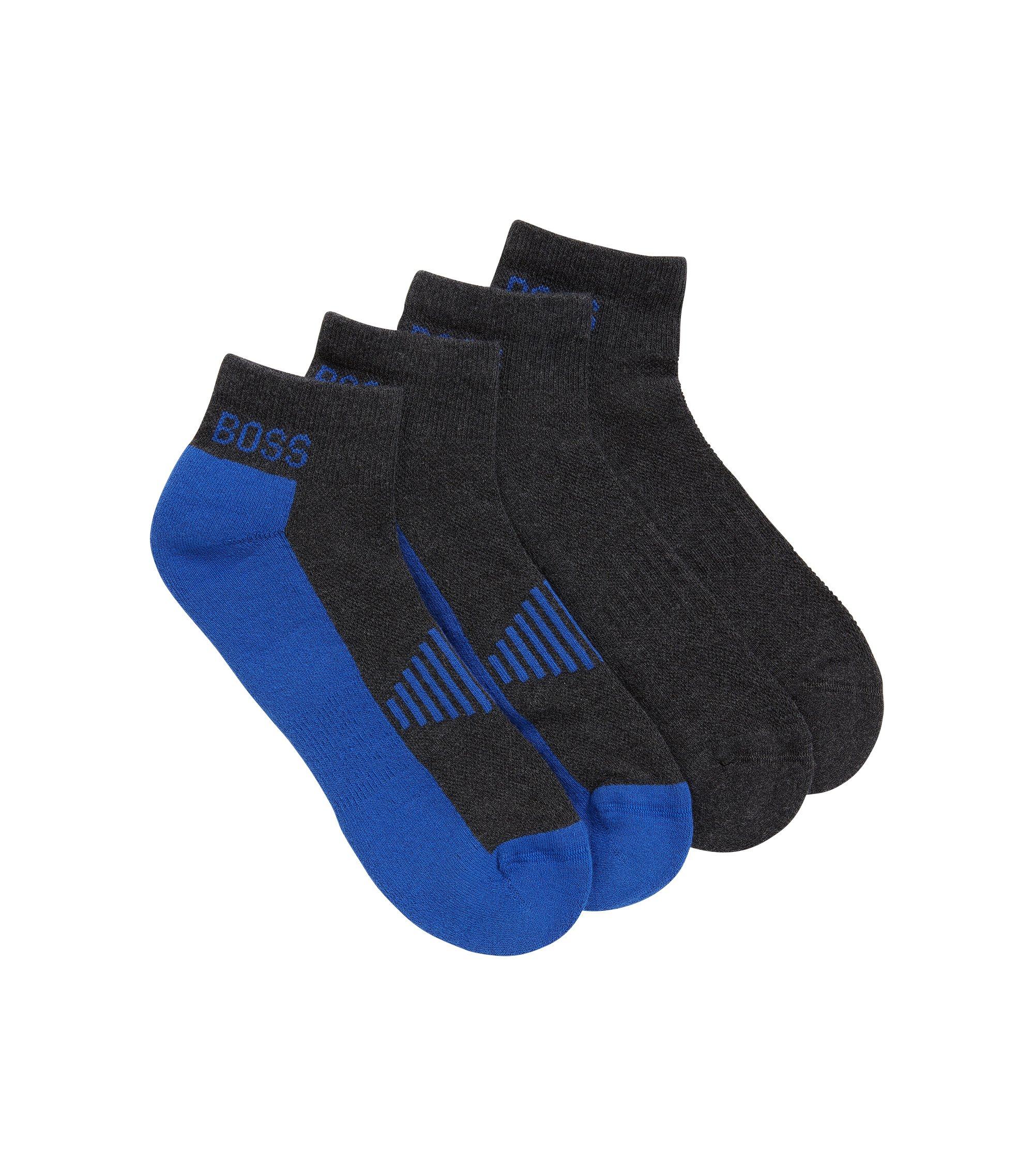 Knöchelhohe Socken aus Baumwoll-Piqué mit Polsterung im Zweier-Pack, Anthrazit