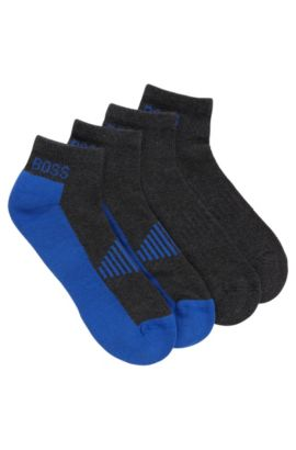 Two-pack of piqué ankle socks with cushioning, Anthracite