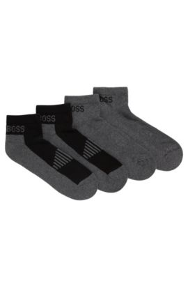Two-pack of piqué ankle socks with cushioning, Grey