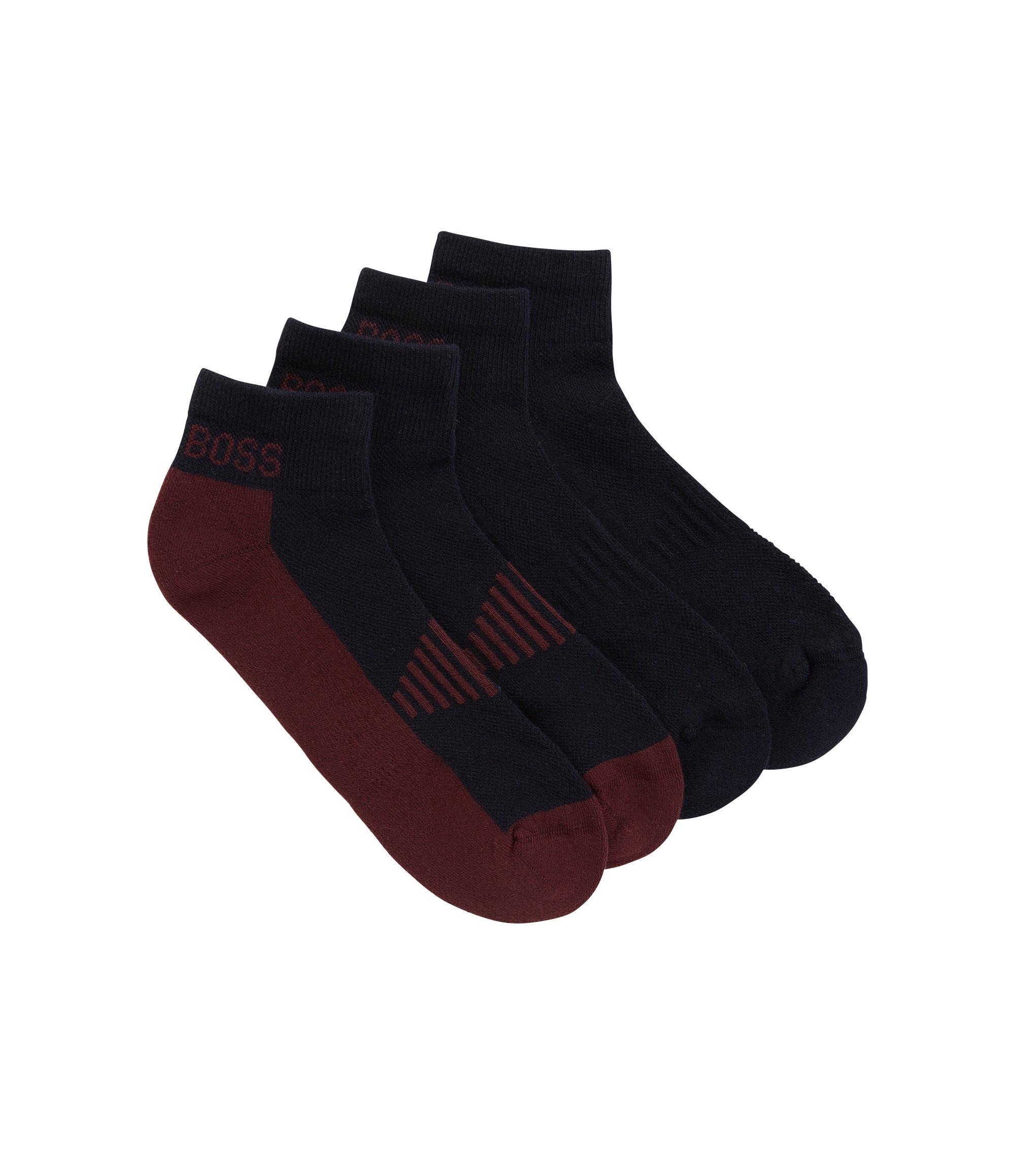 Knöchelhohe Socken aus Baumwoll-Piqué mit Polsterung im Zweier-Pack, Dunkelblau