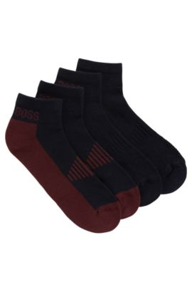 Two-pack of piqué ankle socks with cushioning, Dark Blue