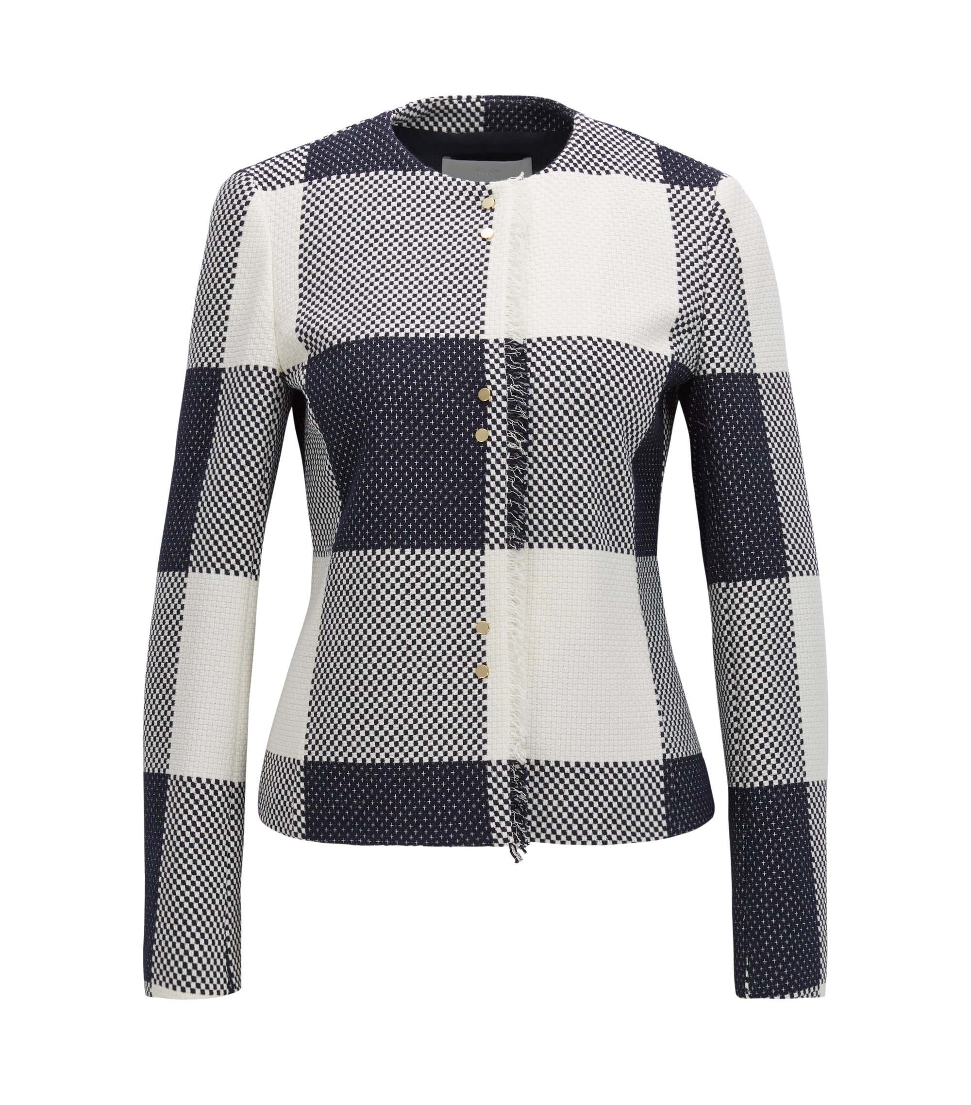 Checked-cotton jacket with fringing, Patterned