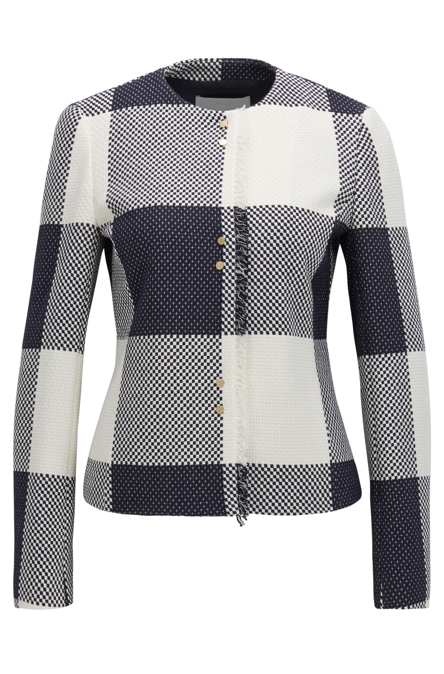 Checked-cotton jacket with fringing