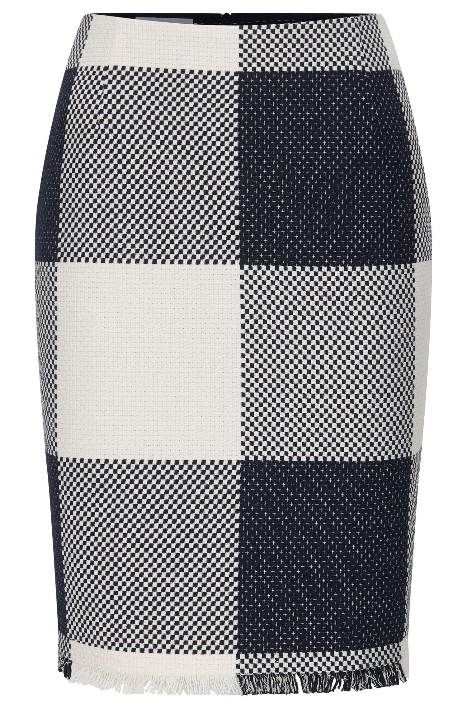 Checked-cotton pencil skirt with fringing