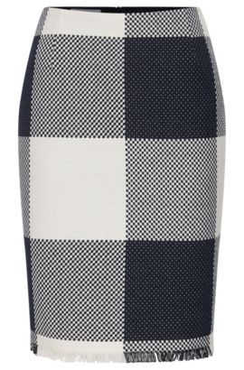 Checked-cotton pencil skirt with fringing, Patterned