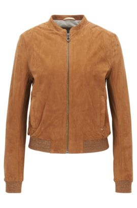 Slim-fit bomber jacket in rich suede, Light Brown