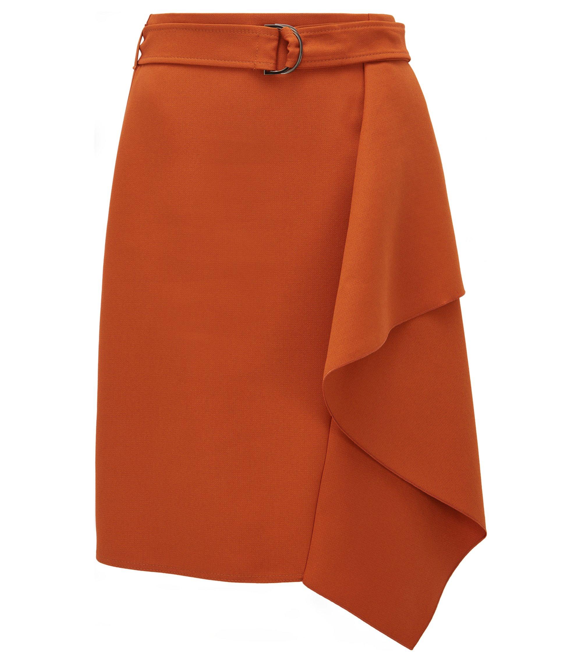 Regular-fit rok van zware crêpe, Bruin