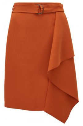 Regular-fit skirt in heavy crêpe, Brown