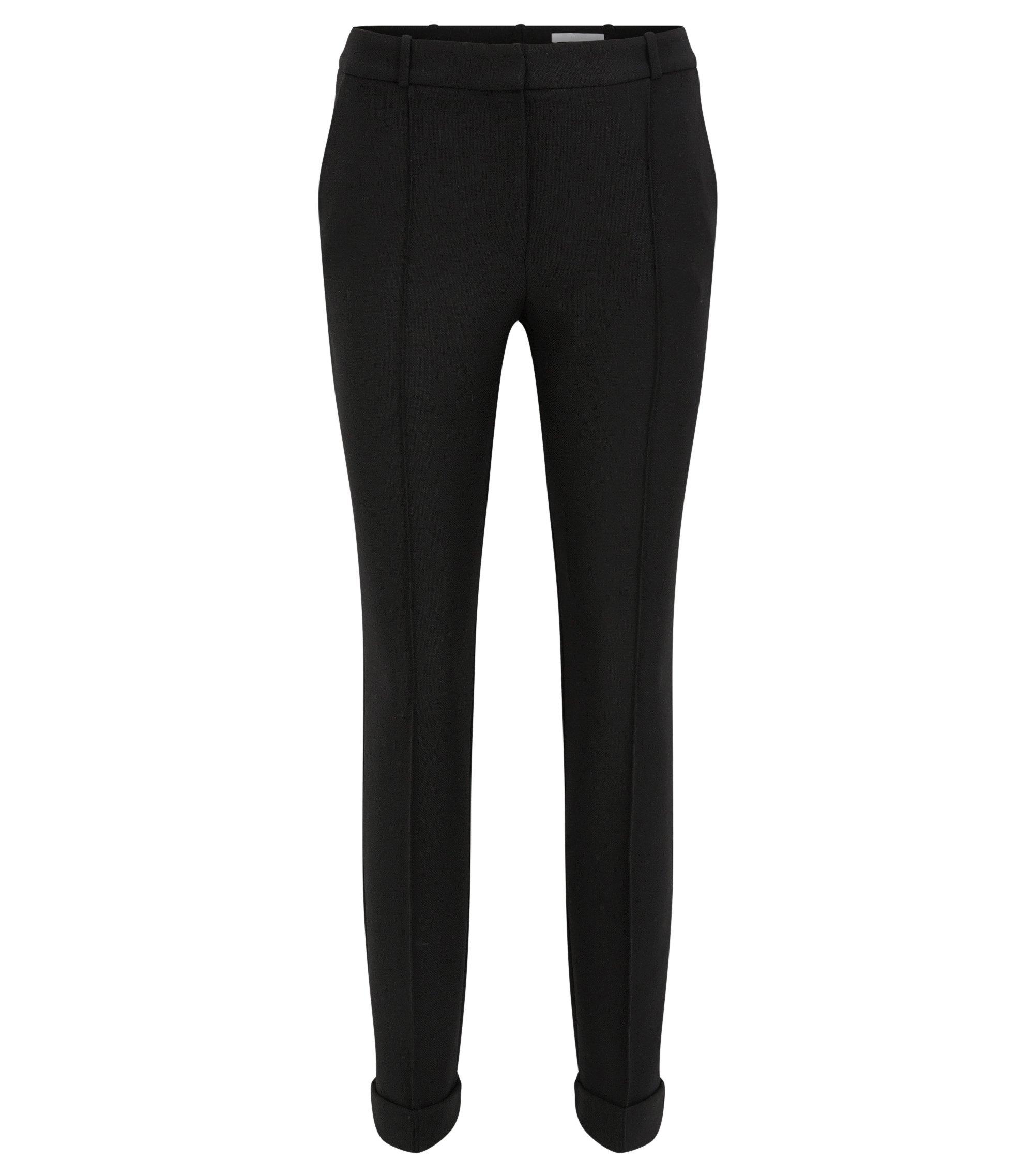 Regular-Fit Hose aus elastischem Material-Mix mit Wolle, Schwarz