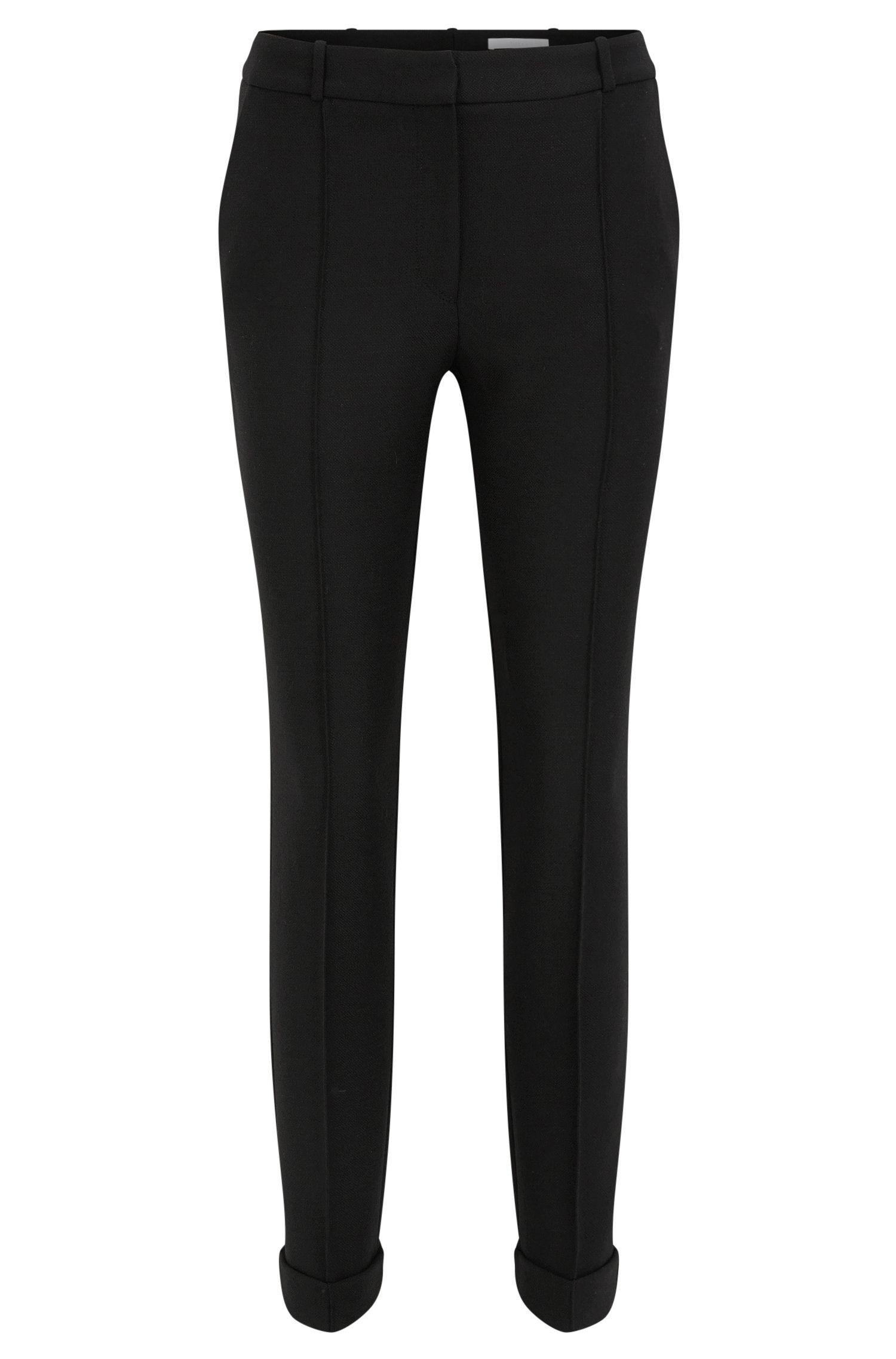 Pantalón regular fit en tejido teñido en hilo