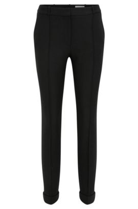 Regular-fit trousers in yarn-dyed fabric, Black