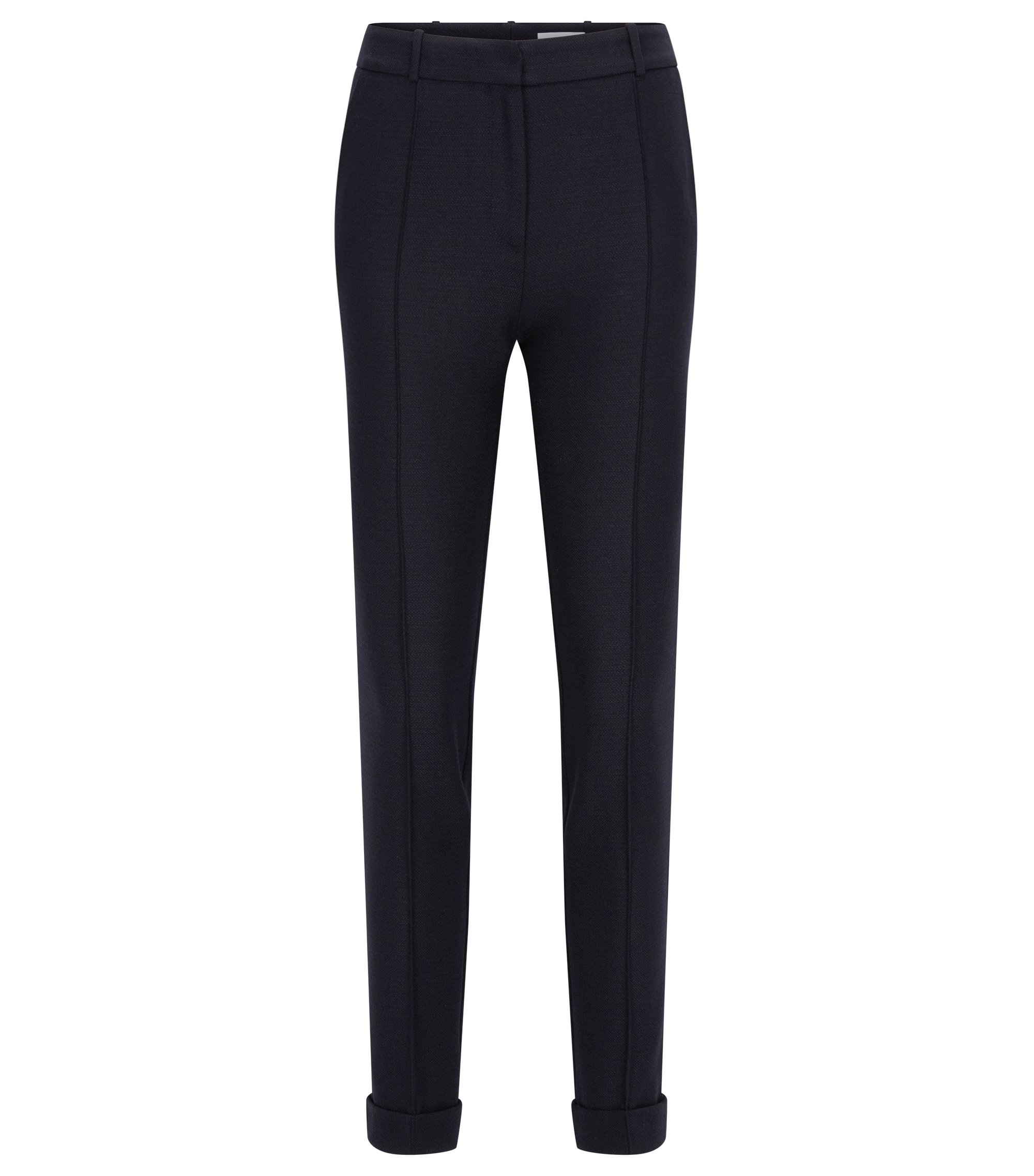 Regular-fit trousers in yarn-dyed fabric, Dark Blue
