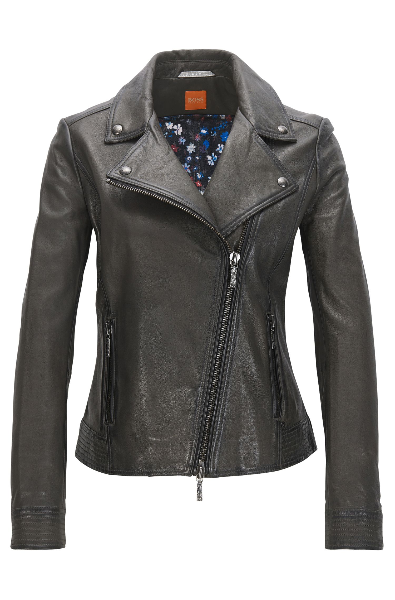 Lightweight nappa leather biker jacket with assymetrical zip