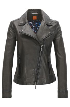 Lightweight nappa leather biker jacket with assymetrical zip, Anthracite