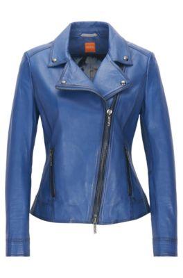 Ligera cazadora biker de piel de napa con cremallera asimétrica, Azul