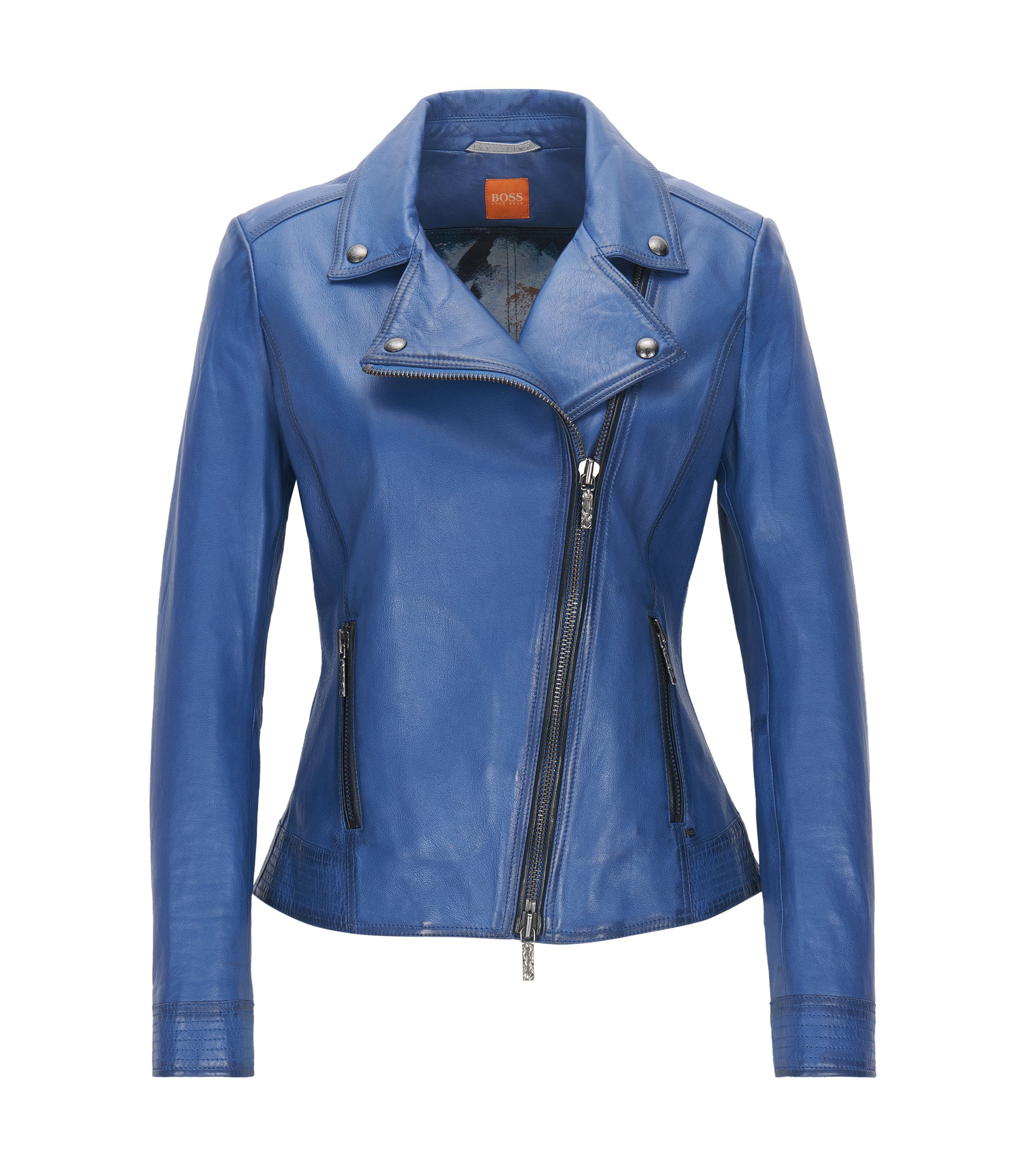 Lightweight nappa leather biker jacket with assymetrical zip, Blue