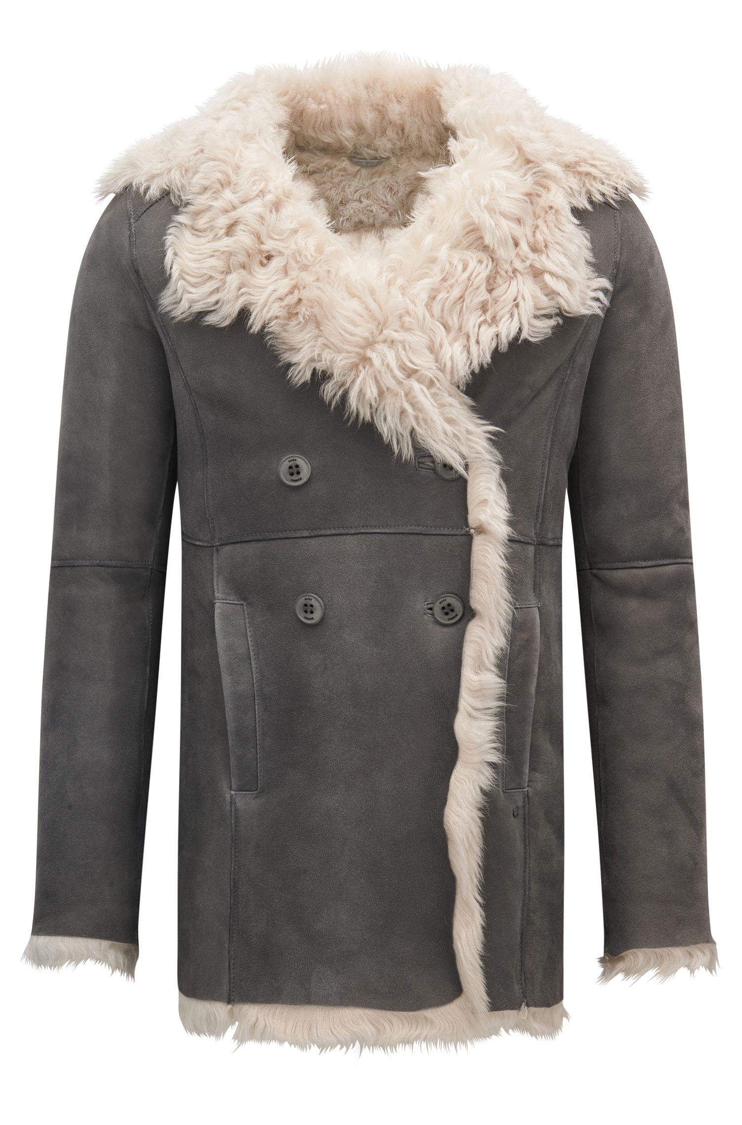 Manteau croisé Regular Fit en cuir d'agneau