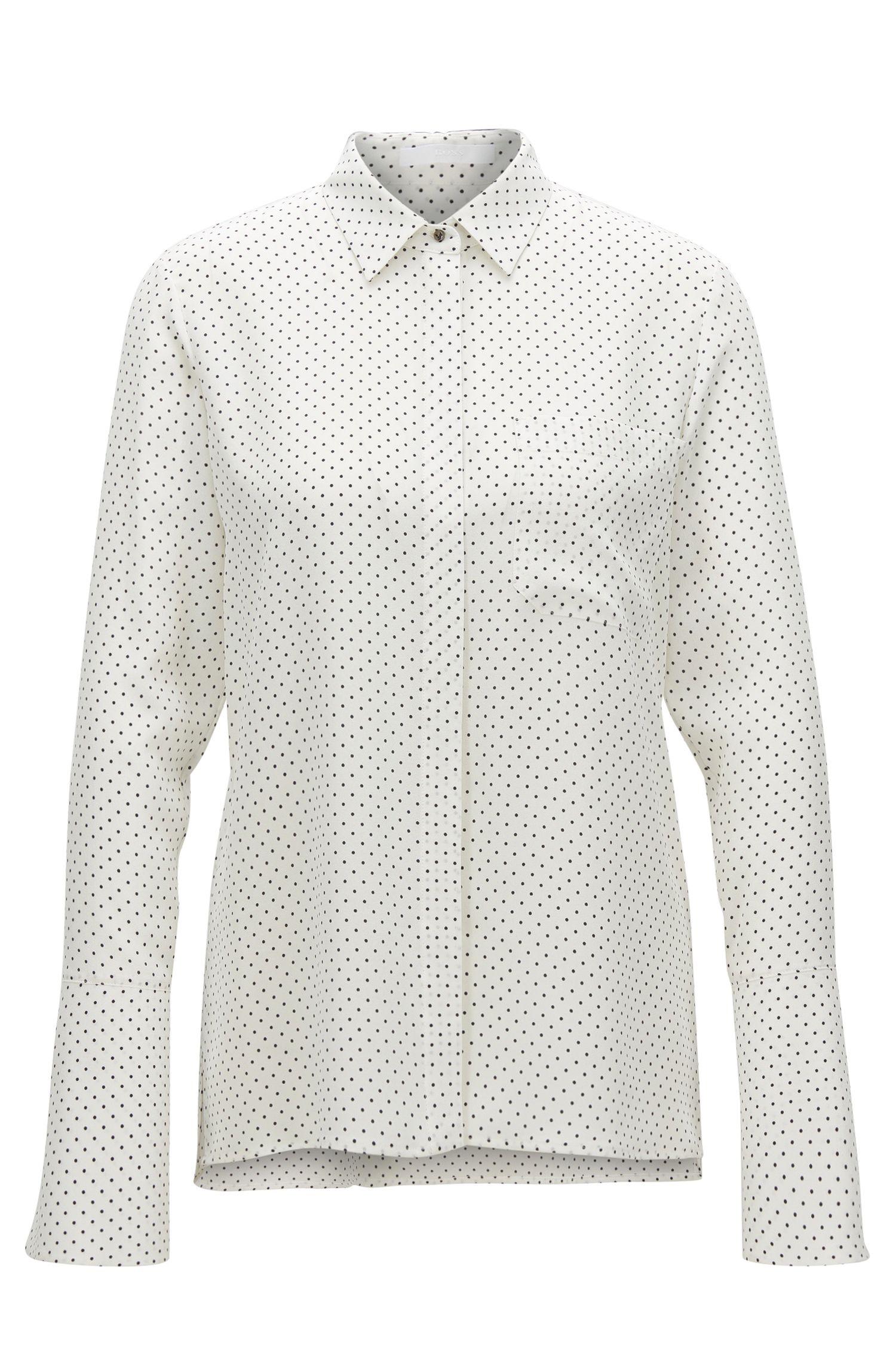 Camicia regular fit in seta con stampa a pois