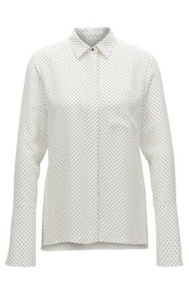 Regular-fit shirt in dot-print silk, Patterned
