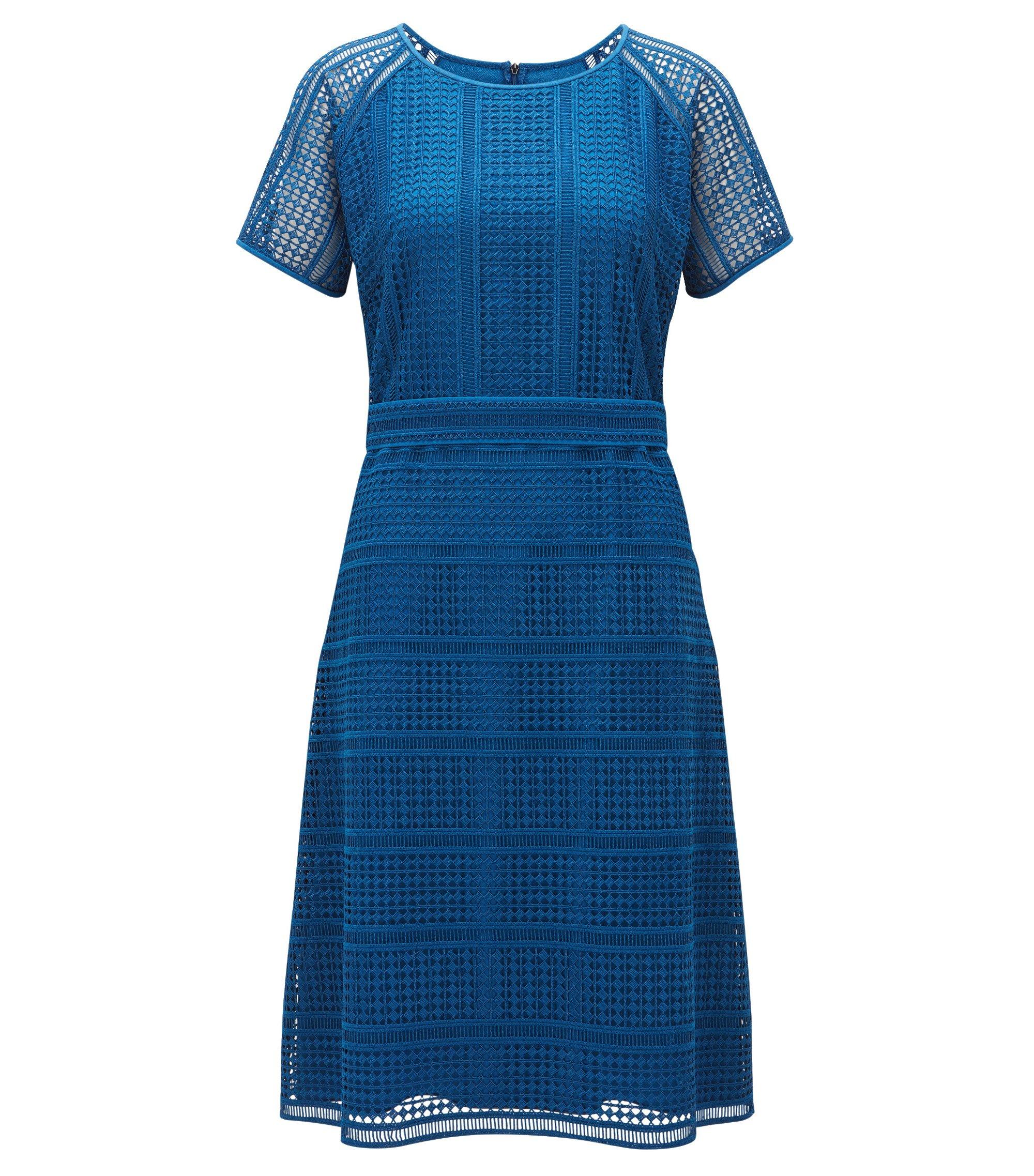 Regular-Fit Kleid mit grafischem Muster aus Spitze, Blau