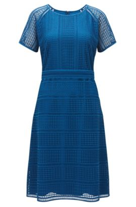 Regular-fit dress in graphic lace, Bleu