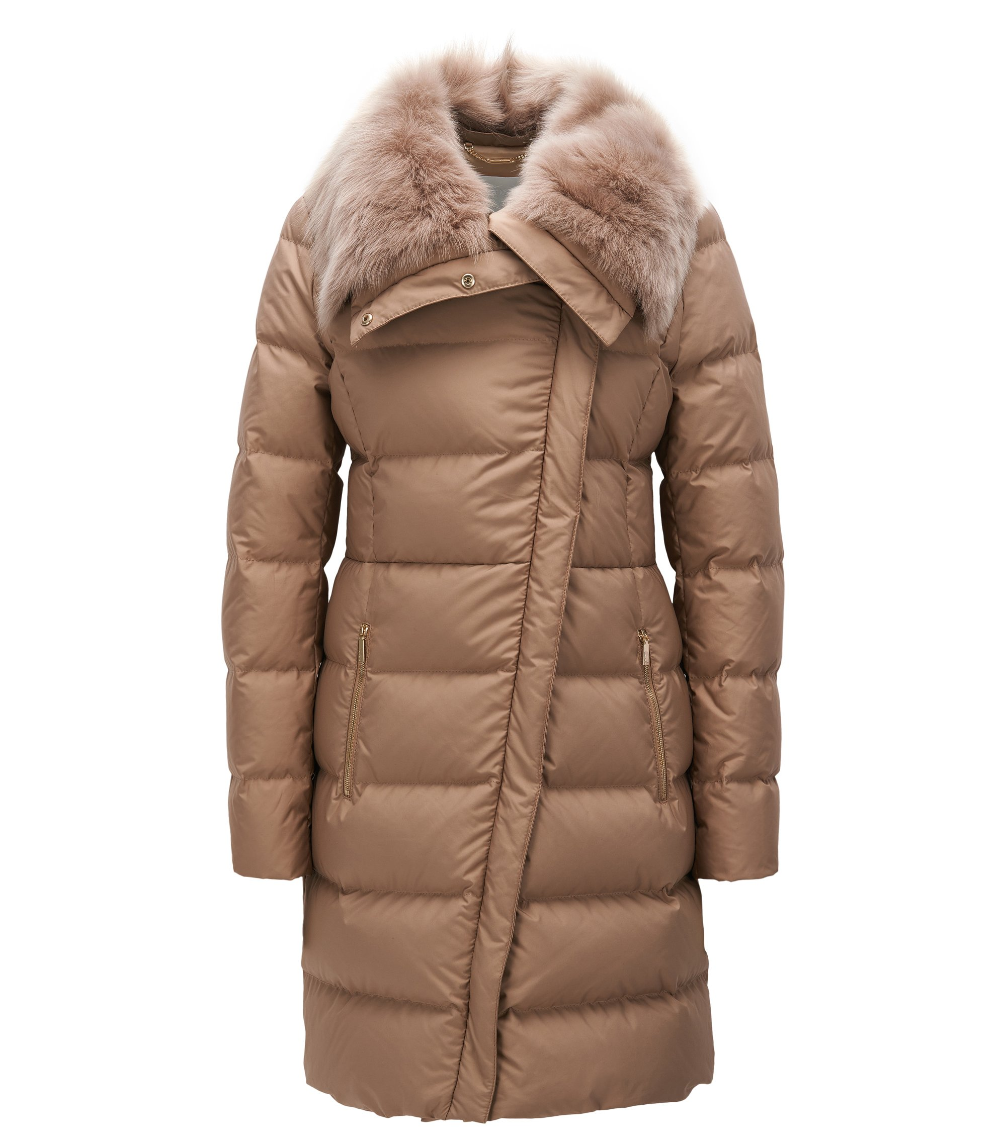 Regular-fit padded jacket with fur collar, Open Beige