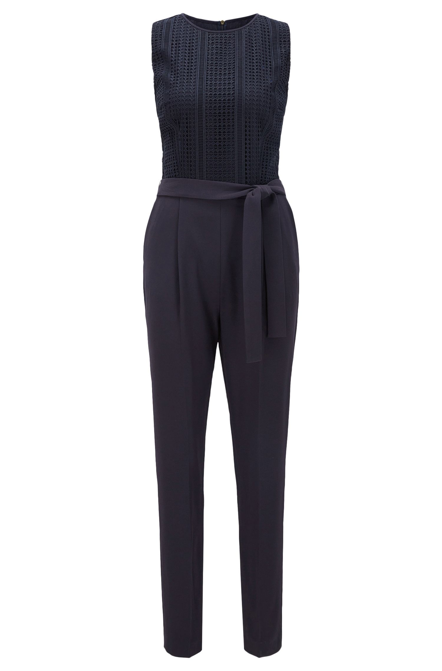Regular-fit jumpsuit with graphic lace