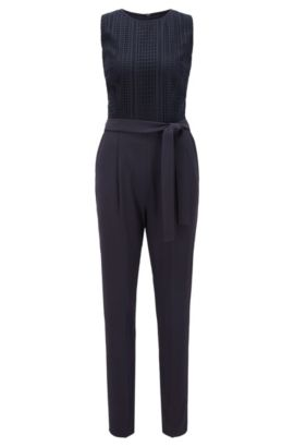 Regular-fit jumpsuit with graphic lace, Dark Blue