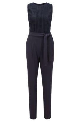 Regular-fit jumpsuit met grafische kant, Donkerblauw