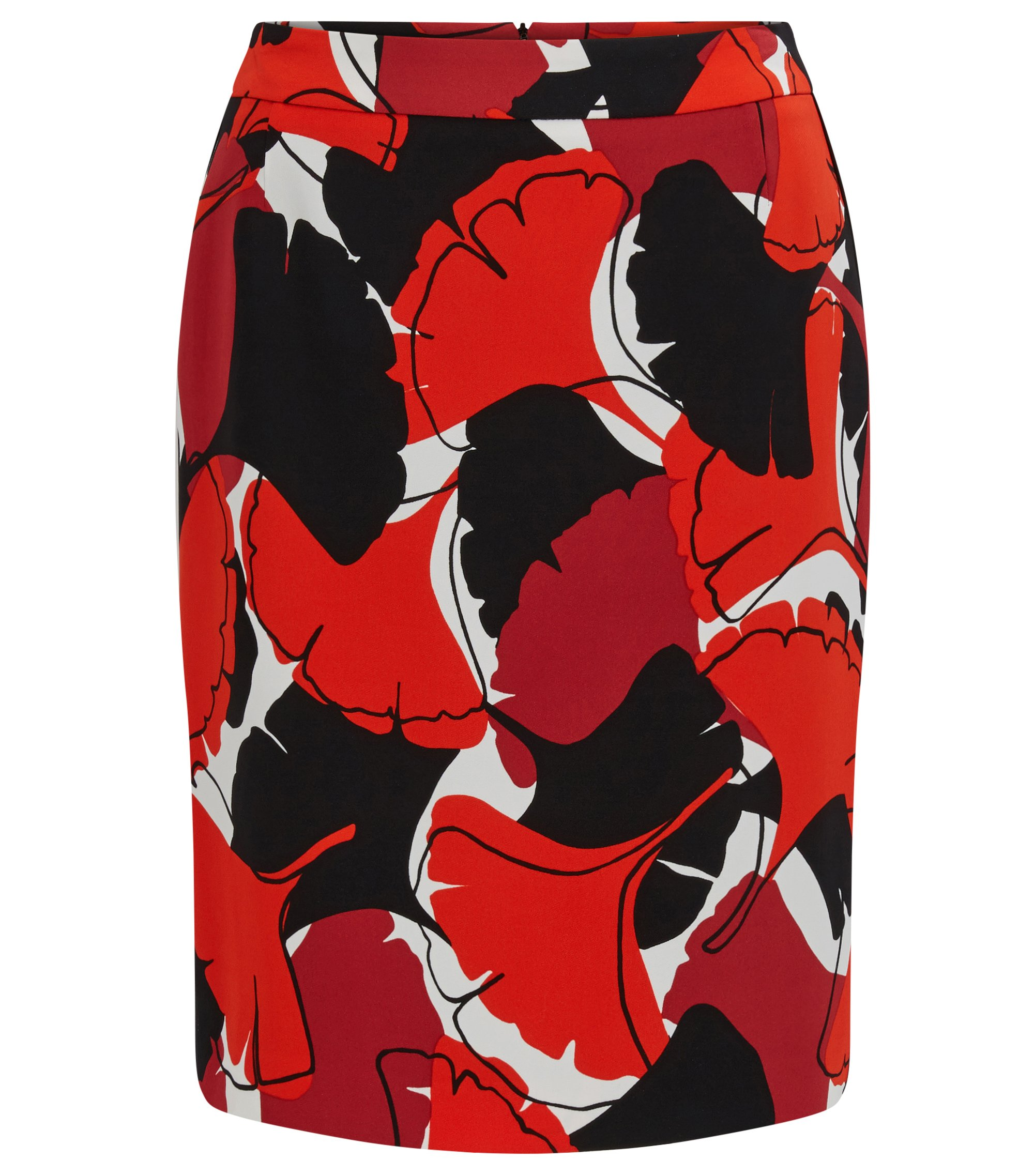 Pencil skirt in printed stretch crêpe, Patterned