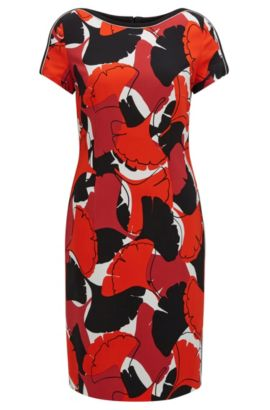 Sheath dress in printed crêpe, Patterned